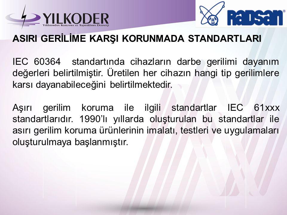 ASIRI GERİLİME KARŞI KORUNMADA STANDARTLARI IEC 60364 standartında cihazların darbe gerilimi dayanım değerleri belirtilmiştir.