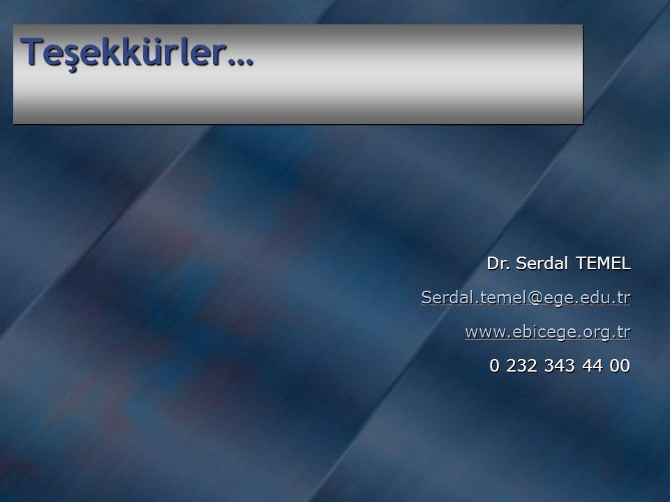 Teşekkürler… Dr.Serdal TEMEL Serdal.temel@ege.edu.tr www.ebicege.org.tr 0 232 343 44 00 Dr.