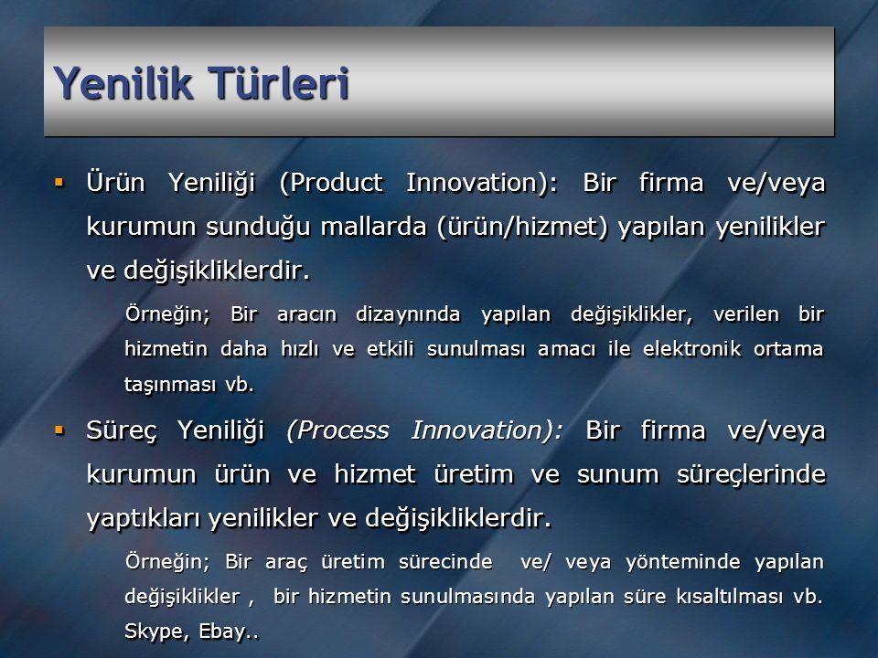 Yenilik Türleri  Ürün Yeniliği (Product Innovation): Bir firma ve/veya kurumun sunduğu mallarda (ürün/hizmet) yapılan yenilikler ve değişikliklerdir.