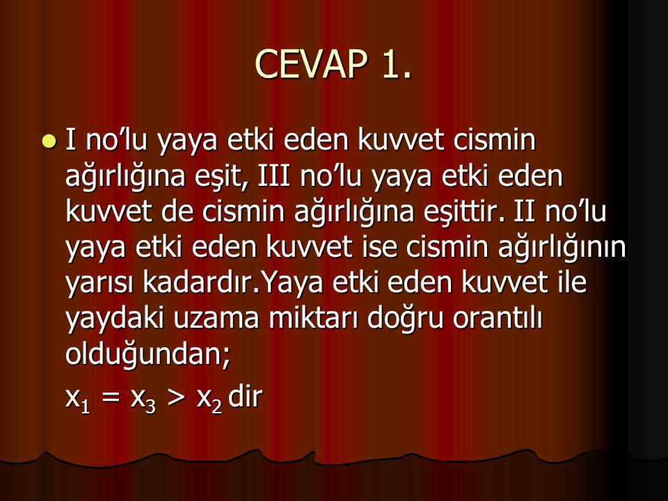 CEVAP 1.  I no'lu yaya etki eden kuvvet cismin ağırlığına eşit, III no'lu yaya etki eden kuvvet de cismin ağırlığına eşittir. II no'lu yaya etki eden