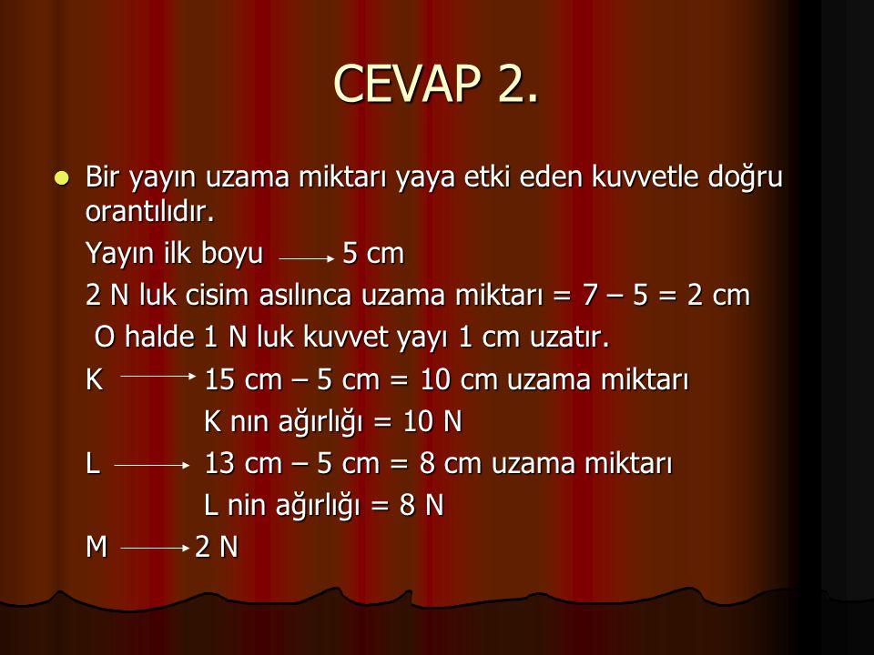 CEVAP 2.  Bir yayın uzama miktarı yaya etki eden kuvvetle doğru orantılıdır. Yayın ilk boyu 5 cm 2 N luk cisim asılınca uzama miktarı = 7 – 5 = 2 cm