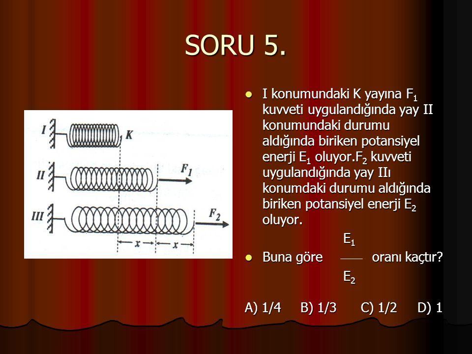 SORU 5.  I konumundaki K yayına F 1 kuvveti uygulandığında yay II konumundaki durumu aldığında biriken potansiyel enerji E 1 oluyor.F 2 kuvveti uygul