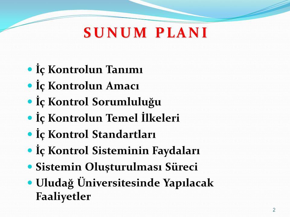 S U N U M P L A N I  İç Kontrolun Tanımı  İç Kontrolun Amacı  İç Kontrol Sorumluluğu  İç Kontrolun Temel İlkeleri  İç Kontrol Standartları  İç K