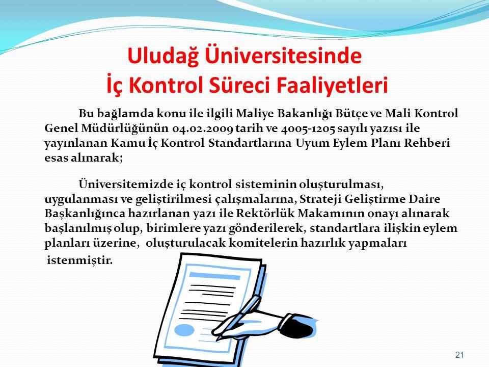 Uludağ Üniversitesinde İç Kontrol Süreci Faaliyetleri Bu bağlamda konu ile ilgili Maliye Bakanlığı Bütçe ve Mali Kontrol Genel Müdürlüğünün 04.02.2009 tarih ve 4005-1205 sayılı yazısı ile yayınlanan Kamu İç Kontrol Standartlarına Uyum Eylem Planı Rehberi esas alınarak; Üniversitemizde iç kontrol sisteminin oluşturulması, uygulanması ve geliştirilmesi çalışmalarına, Strateji Geliştirme Daire Başkanlığınca hazırlanan yazı ile Rektörlük Makamının onayı alınarak başlanılmış olup, birimlere yazı gönderilerek, standartlara ilişkin eylem planları üzerine, oluşturulacak komitelerin hazırlık yapmaları istenmiştir.