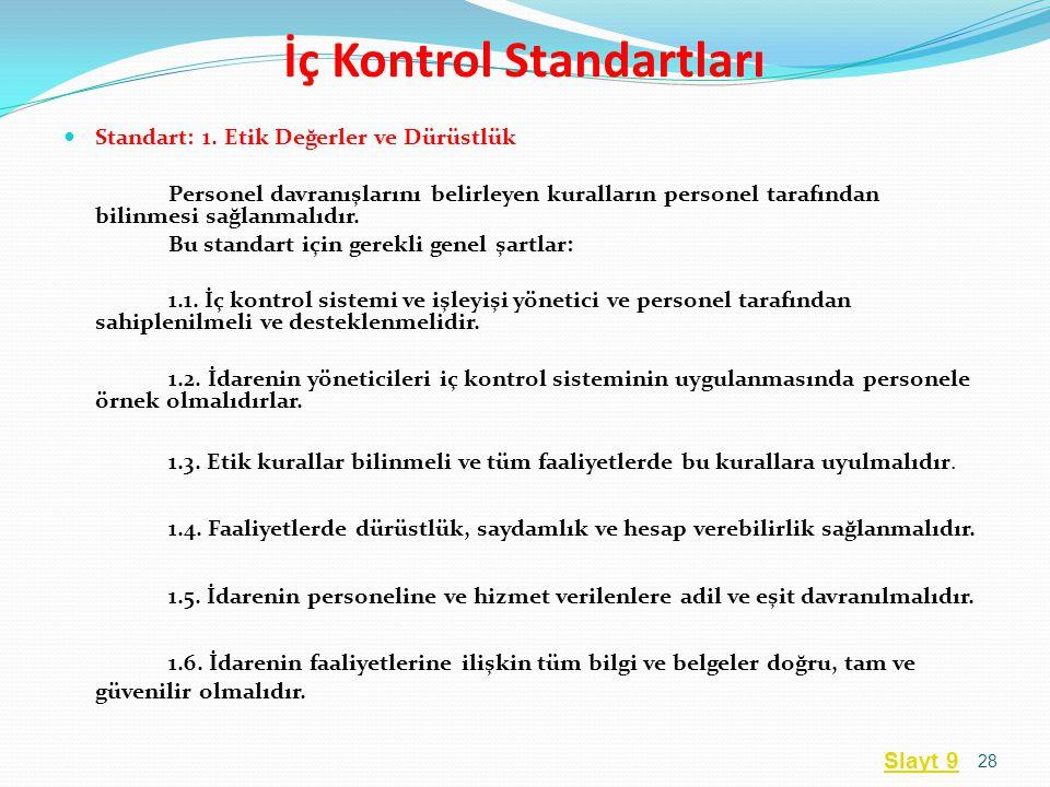 İç Kontrol Standartları  Standart: 1. Etik Değerler ve Dürüstlük Personel davranışlarını belirleyen kuralların personel tarafından bilinmesi sağlanma