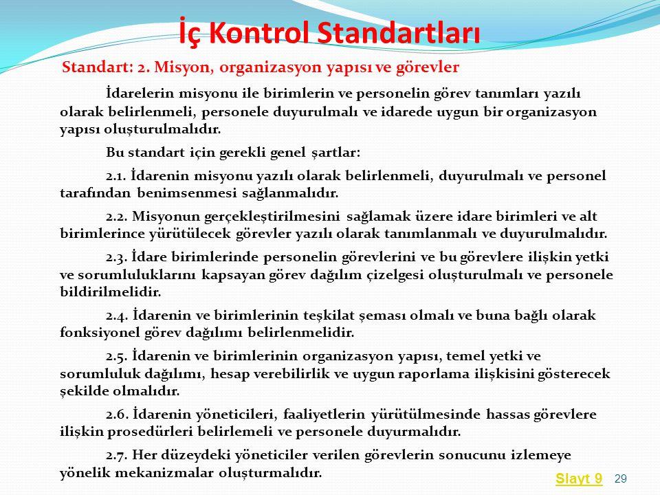 Standart: 2. Misyon, organizasyon yapısı ve görevler İdarelerin misyonu ile birimlerin ve personelin görev tanımları yazılı olarak belirlenmeli, perso