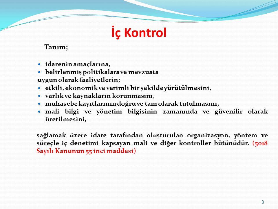 İç Kontrol Tanım;  idarenin amaçlarına,  belirlenmiş politikalara ve mevzuata uygun olarak faaliyetlerin;  etkili, ekonomik ve verimli bir şekilde