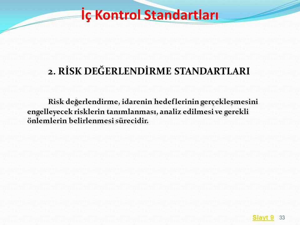 2. RİSK DEĞERLENDİRME STANDARTLARI Risk değerlendirme, idarenin hedeflerinin gerçekleşmesini engelleyecek risklerin tanımlanması, analiz edilmesi ve g
