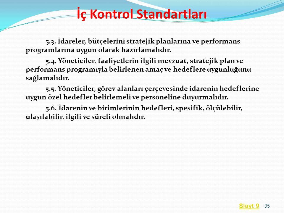 5.3. İdareler, bütçelerini stratejik planlarına ve performans programlarına uygun olarak hazırlamalıdır. 5.4. Yöneticiler, faaliyetlerin ilgili mevzua