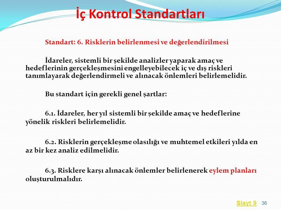Standart: 6. Risklerin belirlenmesi ve değerlendirilmesi İdareler, sistemli bir şekilde analizler yaparak amaç ve hedeflerinin gerçekleşmesini engelle