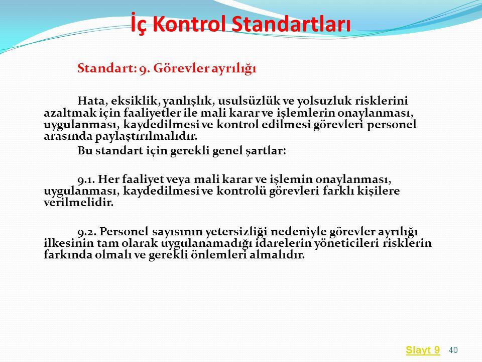 Standart: 9. Görevler ayrılığı Hata, eksiklik, yanlışlık, usulsüzlük ve yolsuzluk risklerini azaltmak için faaliyetler ile mali karar ve işlemlerin on