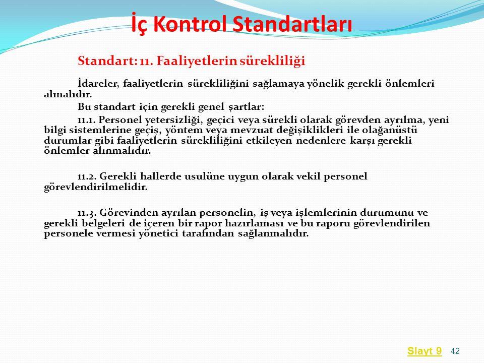 Standart: 11. Faaliyetlerin sürekliliği İdareler, faaliyetlerin sürekliliğini sağlamaya yönelik gerekli önlemleri almalıdır. Bu standart için gerekli