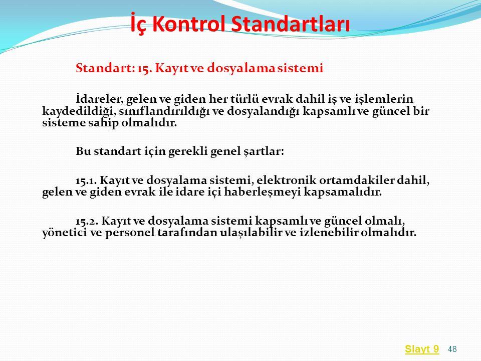 Standart: 15. Kayıt ve dosyalama sistemi İdareler, gelen ve giden her türlü evrak dahil iş ve işlemlerin kaydedildiği, sınıflandırıldığı ve dosyalandı