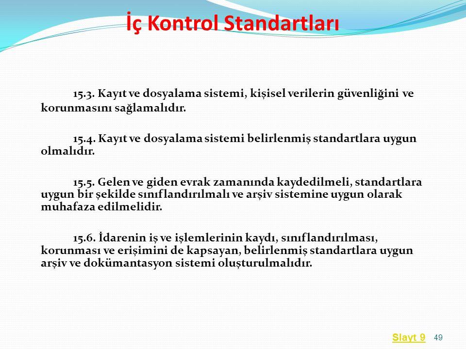 15.3. Kayıt ve dosyalama sistemi, kişisel verilerin güvenliğini ve korunmasını sağlamalıdır. 15.4. Kayıt ve dosyalama sistemi belirlenmiş standartlara