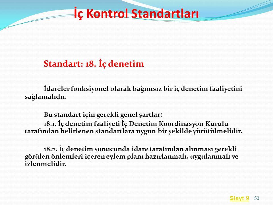 Standart: 18. İç denetim İdareler fonksiyonel olarak bağımsız bir iç denetim faaliyetini sağlamalıdır. Bu standart için gerekli genel şartlar: 18.1. İ