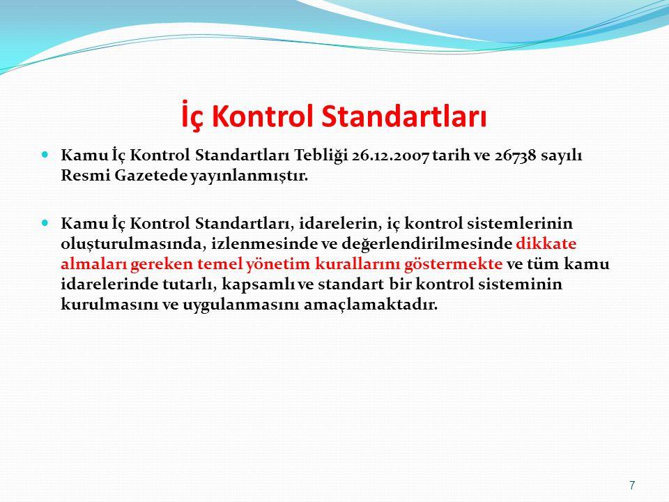 İç Kontrol Standartları  Kamu İç Kontrol Standartları Tebliği 26.12.2007 tarih ve 26738 sayılı Resmi Gazetede yayınlanmıştır.  Kamu İç Kontrol Stand