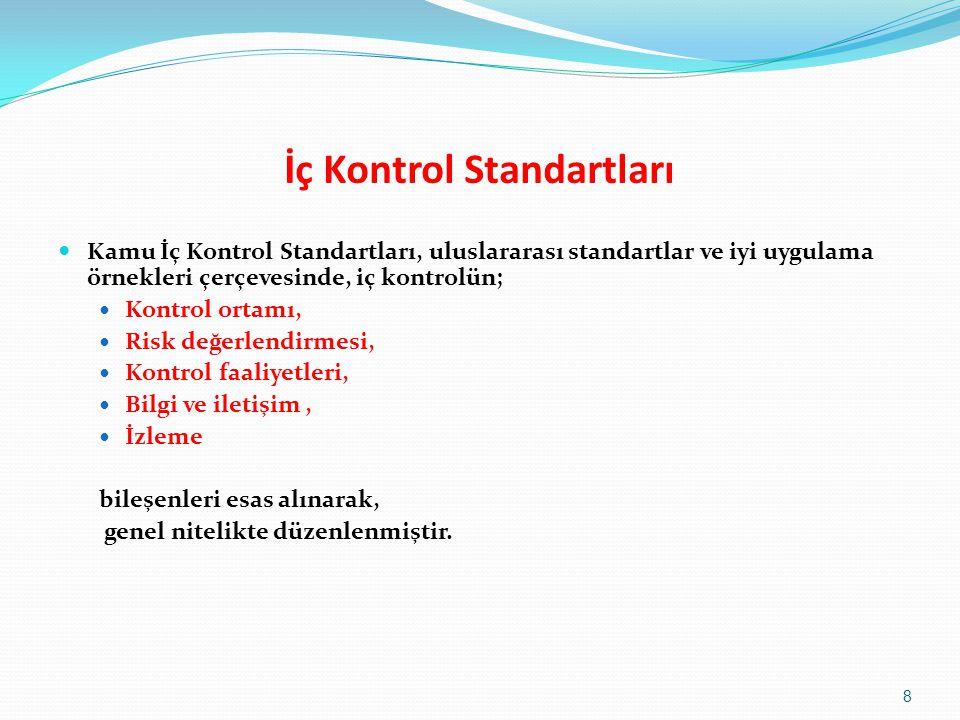 İç Kontrol Standartları  Kamu İç Kontrol Standartları, uluslararası standartlar ve iyi uygulama örnekleri çerçevesinde, iç kontrolün;  Kontrol ortamı,  Risk değerlendirmesi,  Kontrol faaliyetleri,  Bilgi ve iletişim,  İzleme bileşenleri esas alınarak, genel nitelikte düzenlenmiştir.