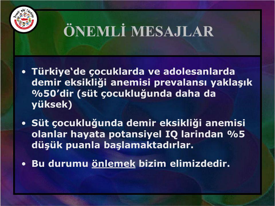 ÖNEMLİ MESAJLAR •Türkiye'de çocuklarda ve adolesanlarda demir eksikliği anemisi prevalansı yaklaşık %50'dir (süt çocukluğunda daha da yüksek) •Süt çoc