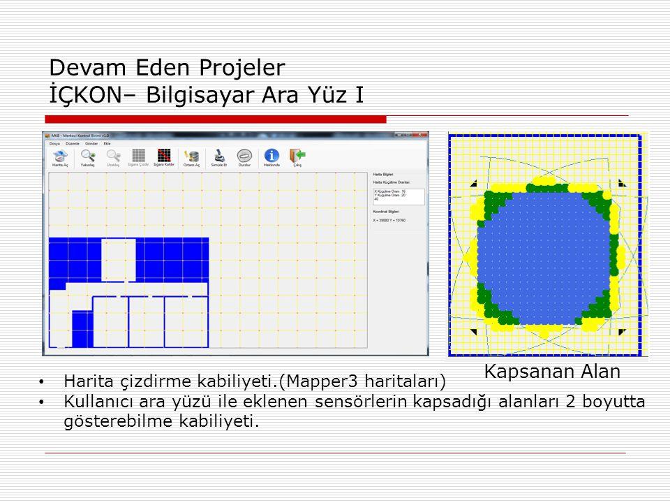 Kapsanan Alan Devam Eden Projeler İÇKON– Bilgisayar Ara Yüz I • Harita çizdirme kabiliyeti.(Mapper3 haritaları) • Kullanıcı ara yüzü ile eklenen sensörlerin kapsadığı alanları 2 boyutta gösterebilme kabiliyeti.