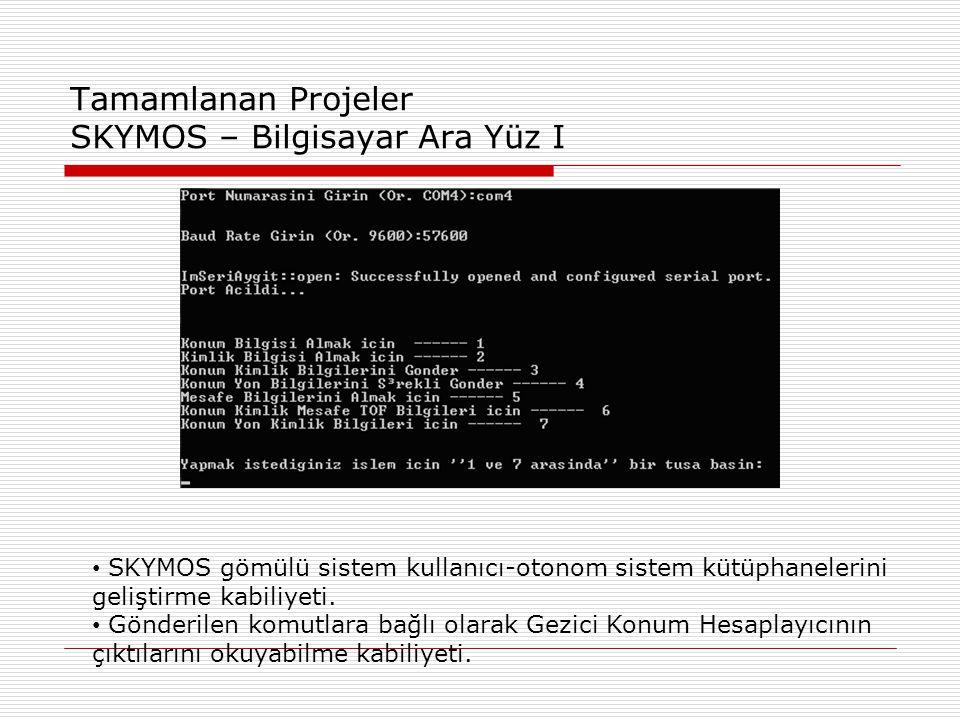 Tamamlanan Projeler SKYMOS – Bilgisayar Ara Yüz I • SKYMOS gömülü sistem kullanıcı-otonom sistem kütüphanelerini geliştirme kabiliyeti.
