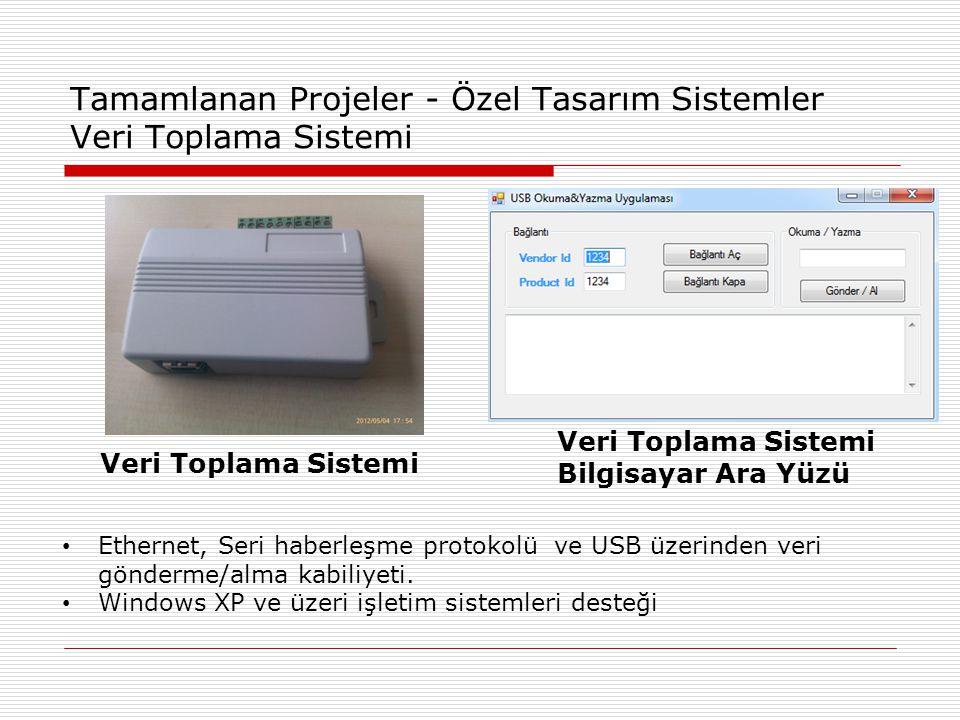 Tamamlanan Projeler - Özel Tasarım Sistemler Veri Toplama Sistemi • Ethernet, Seri haberleşme protokolü ve USB üzerinden veri gönderme/alma kabiliyeti.