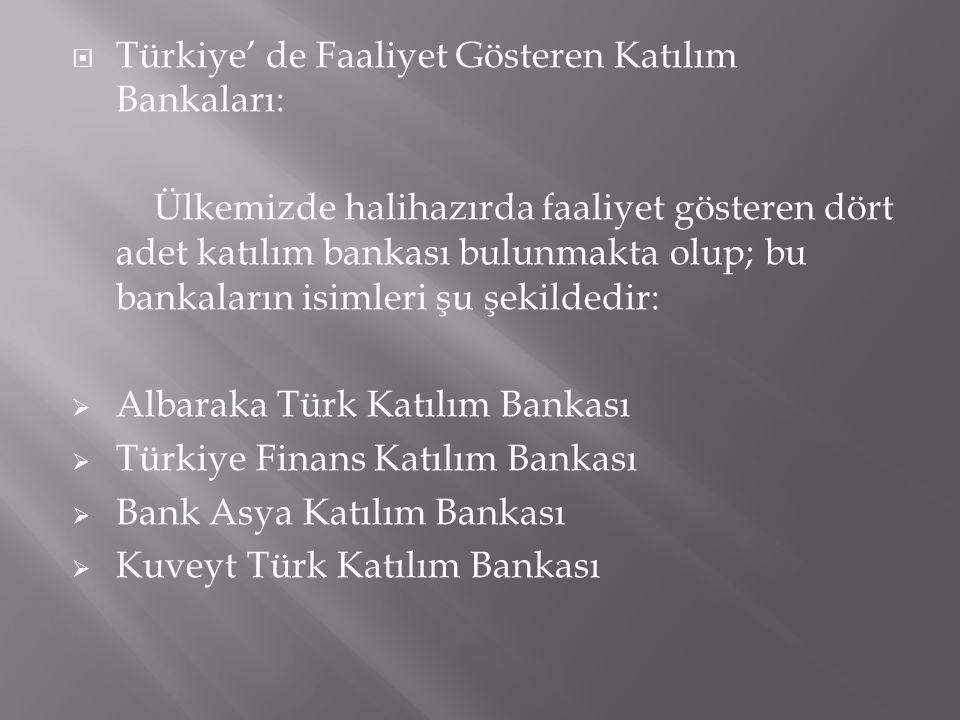  Türkiye' de Faaliyet Gösteren Katılım Bankaları: Ülkemizde halihazırda faaliyet gösteren dört adet katılım bankası bulunmakta olup; bu bankaların is