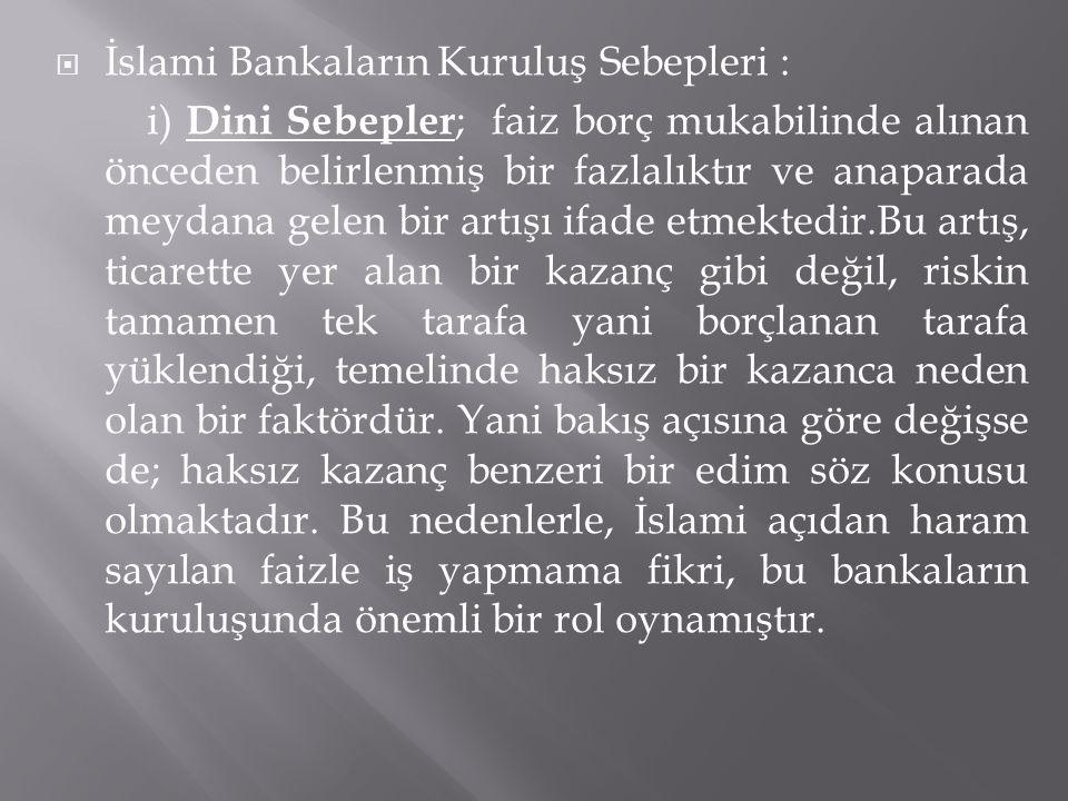 İslami Bankaların Kuruluş Sebepleri : i) Dini Sebepler ; faiz borç mukabilinde alınan önceden belirlenmiş bir fazlalıktır ve anaparada meydana gelen