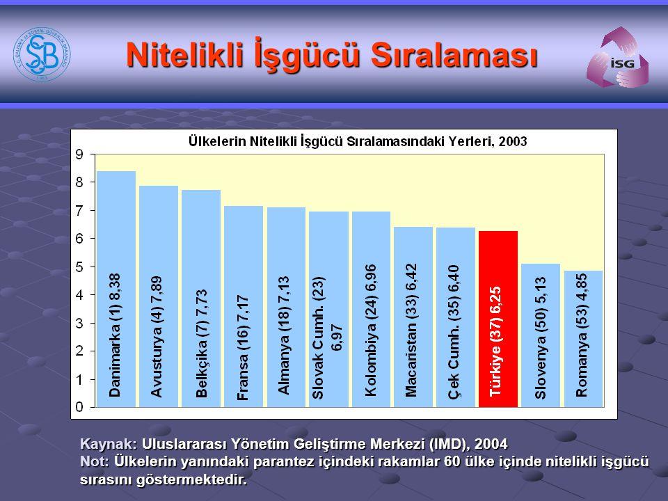 Nitelikli İşgücü Sıralaması Kaynak: Uluslararası Yönetim Geliştirme Merkezi (IMD), 2004 Not: Ülkelerin yanındaki parantez içindeki rakamlar 60 ülke iç