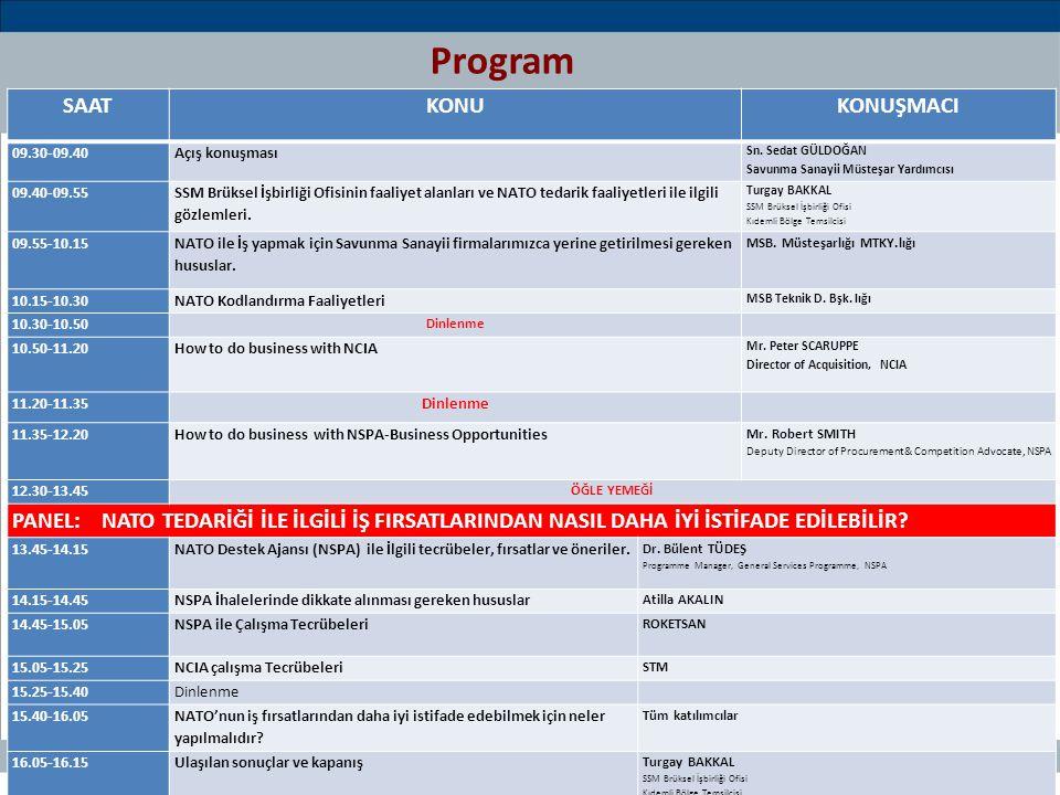 44 / 66 Teklif ve Öneriler  Savunma Sanayii Firmalarımıza ivedilikle ''NATO ile nasıl iş yapılır'' konulu bir seminer verilmesi,  Ofis tarafından hazırlanan 'NATO İle İş Yapma Rehberi' nin basımı ve yayımı ile elektronik olarak UAİD Web sitesine konmasının sağlanması,  NCIA ile ilgili başlatılan MOA çalışmalarına hız verilmesi,  Firmalarımızın NCIA ile BOA yapmaları konusunda teşvik edilmesi,  Firmalarımızın yeterli imkan ve kabiliyetlere erişinceye kadar NATO ile en çok iş yapan Fransa, İngiltere, ABD, Almanya şirketleri ile NATO ihalelerinde işbirliği imkanlarının geliştirilmesi,