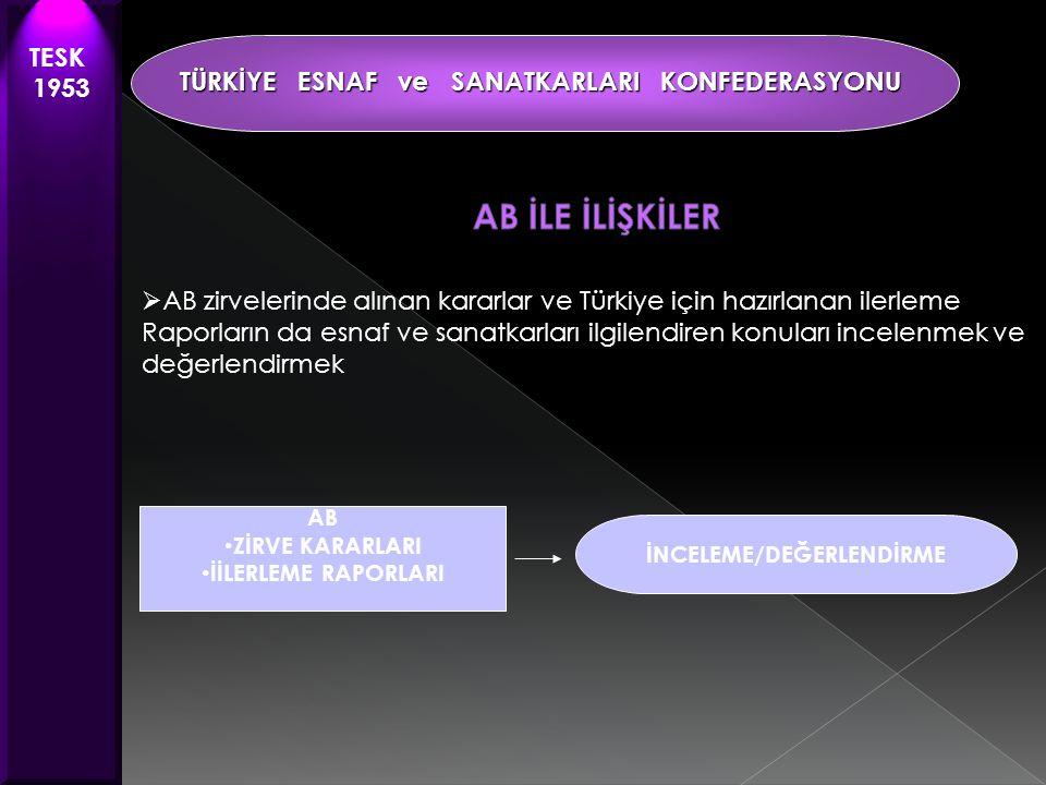  AB zirvelerinde alınan kararlar ve Türkiye için hazırlanan ilerleme Raporların da esnaf ve sanatkarları ilgilendiren konuları incelenmek ve değerlendirmek TESK 1953 TÜRKİYE ESNAF ve SANATKARLARI KONFEDERASYONU AB • ZİRVE KARARLARI • İİLERLEME RAPORLARI İNCELEME/DEĞERLENDİRME