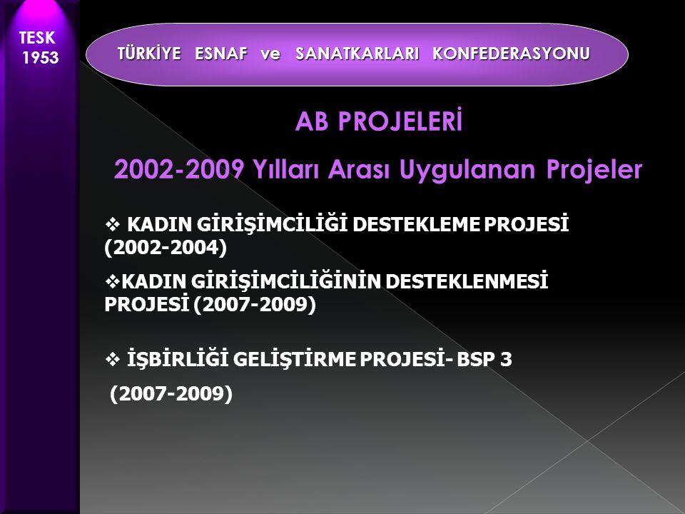 AB PROJELERİ 2002-2009 Yılları Arası Uygulanan Projeler  KADIN GİRİŞİMCİLİĞİ DESTEKLEME PROJESİ (2002-2004)  KADIN GİRİŞİMCİLİĞİNİN DESTEKLENMESİ PROJESİ (2007-2009)  İŞBİRLİĞİ GELİŞTİRME PROJESİ- BSP 3 (2007-2009) TESK 1953 TÜRKİYE ESNAF ve SANATKARLARI KONFEDERASYONU