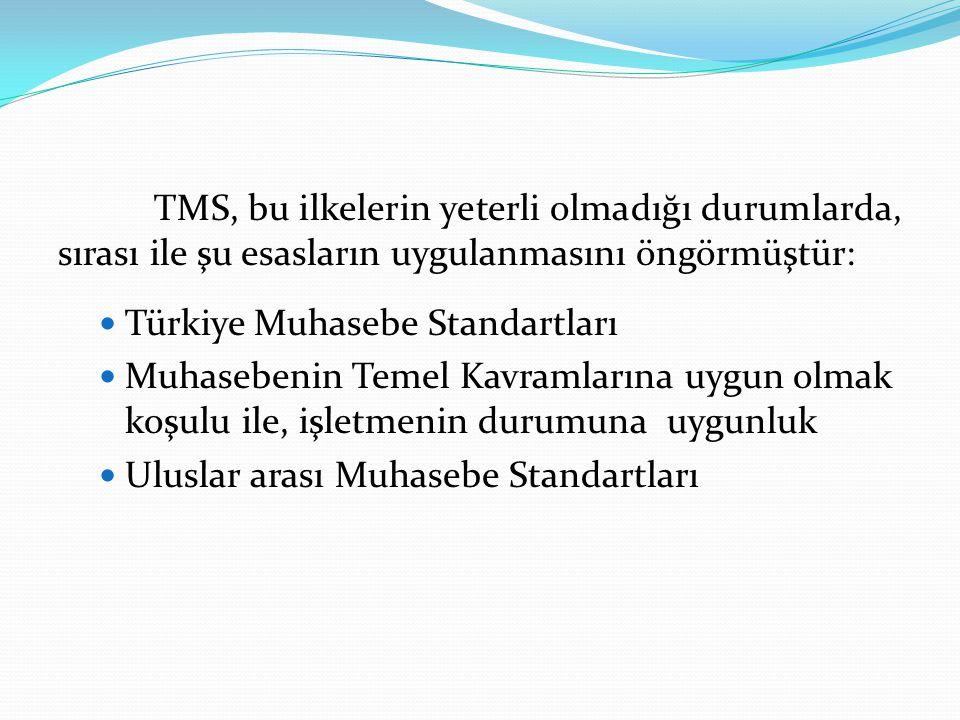 TMS, bu ilkelerin yeterli olmadığı durumlarda, sırası ile şu esasların uygulanmasını öngörmüştür:  Türkiye Muhasebe Standartları  Muhasebenin Temel