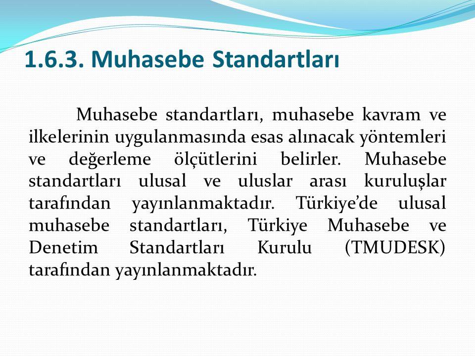 1.6.3. Muhasebe Standartları Muhasebe standartları, muhasebe kavram ve ilkelerinin uygulanmasında esas alınacak yöntemleri ve değerleme ölçütlerini be