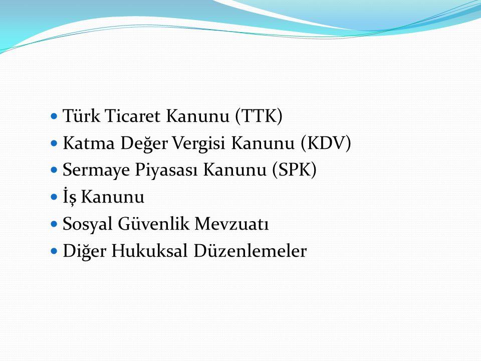  Türk Ticaret Kanunu (TTK)  Katma Değer Vergisi Kanunu (KDV)  Sermaye Piyasası Kanunu (SPK)  İş Kanunu  Sosyal Güvenlik Mevzuatı  Diğer Hukuksal