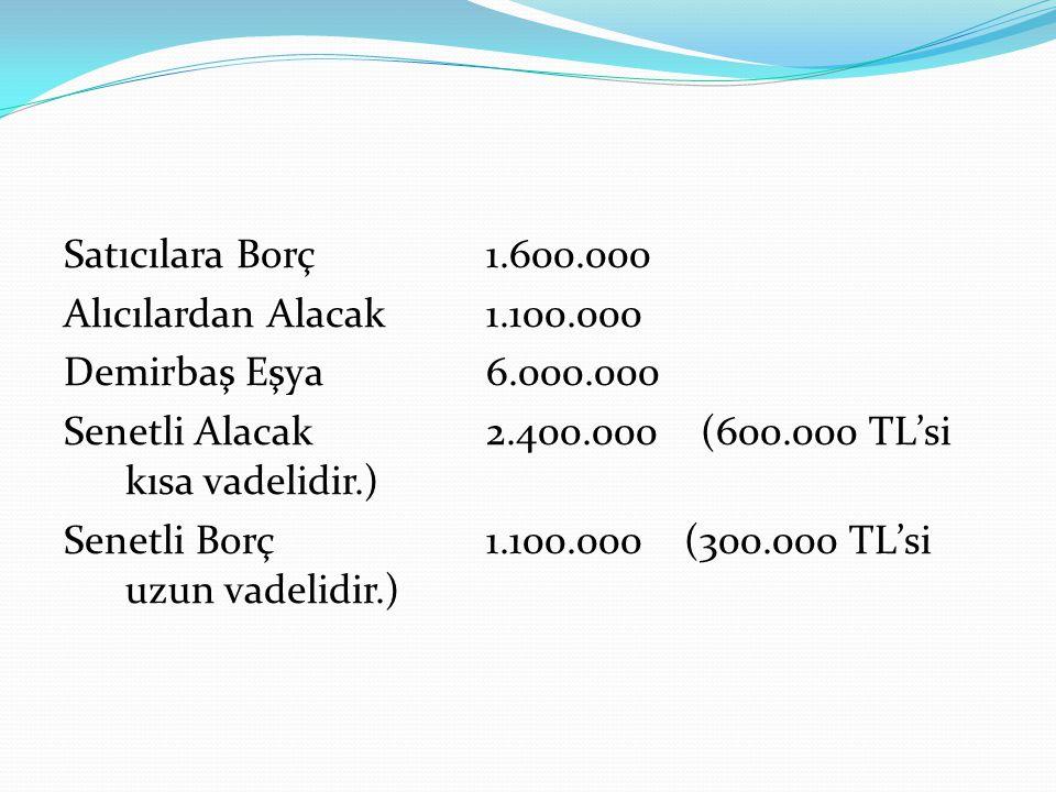 Satıcılara Borç 1.600.000 Alıcılardan Alacak 1.100.000 Demirbaş Eşya 6.000.000 Senetli Alacak 2.400.000 (600.000 TL'si kısa vadelidir.) Senetli Borç1.