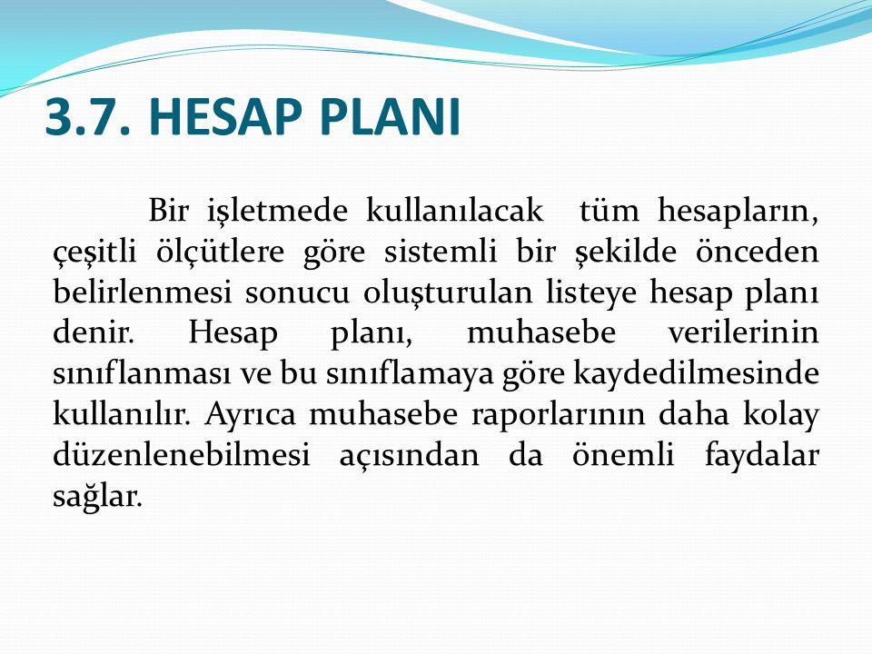 3.7. HESAP PLANI Bir işletmede kullanılacak tüm hesapların, çeşitli ölçütlere göre sistemli bir şekilde önceden belirlenmesi sonucu oluşturulan listey