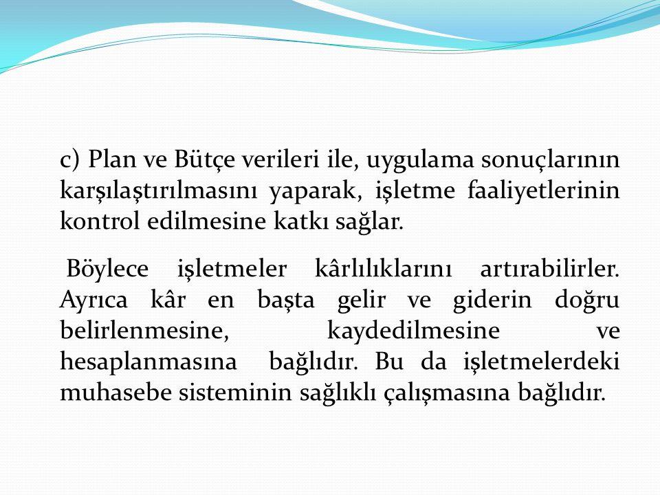 c) Plan ve Bütçe verileri ile, uygulama sonuçlarının karşılaştırılmasını yaparak, işletme faaliyetlerinin kontrol edilmesine katkı sağlar. Böylece işl