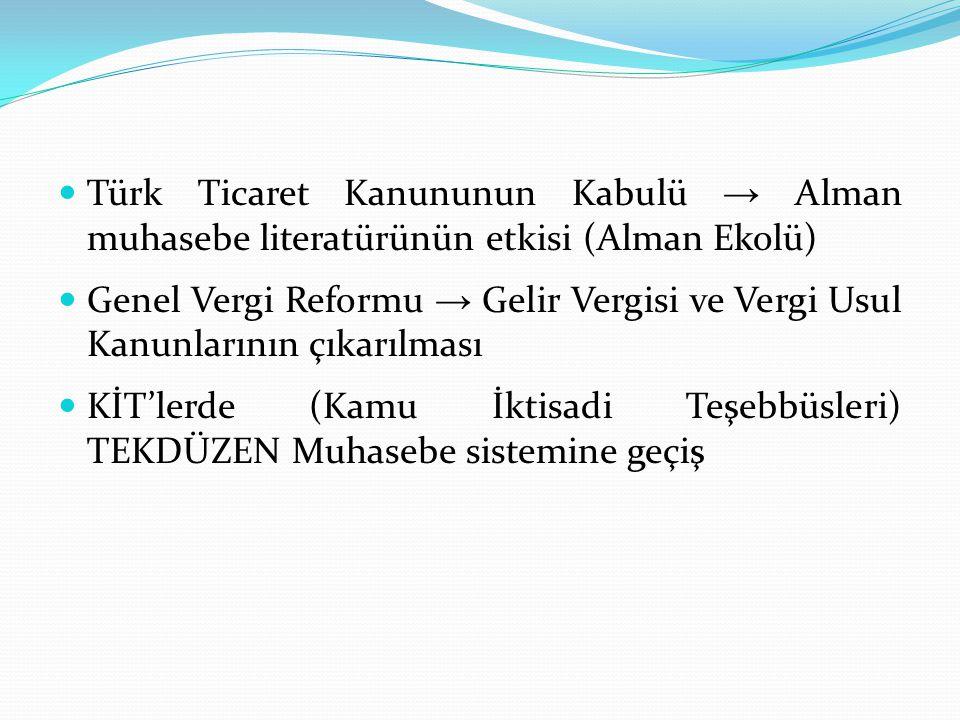  Türk Ticaret Kanununun Kabulü → Alman muhasebe literatürünün etkisi (Alman Ekolü)  Genel Vergi Reformu → Gelir Vergisi ve Vergi Usul Kanunlarının ç
