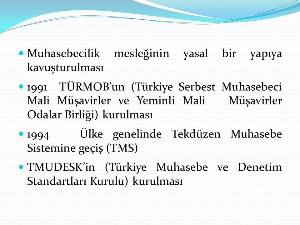  Muhasebecilik mesleğinin yasal bir yapıya kavuşturulması  1991 TÜRMOB'un (Türkiye Serbest Muhasebeci Mali Müşavirler ve Yeminli Mali Müşavirler Oda