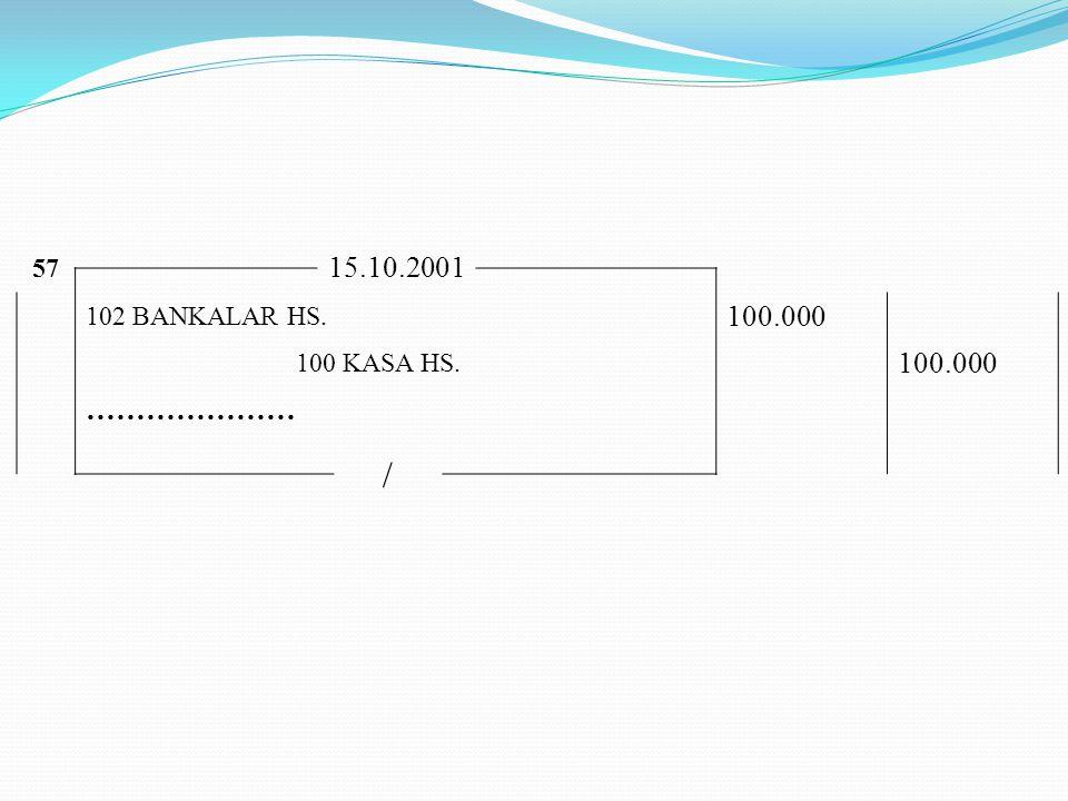 57 15.10.2001 102 BANKALAR HS. 100.000 100 KASA HS. 100.000 ………………… /