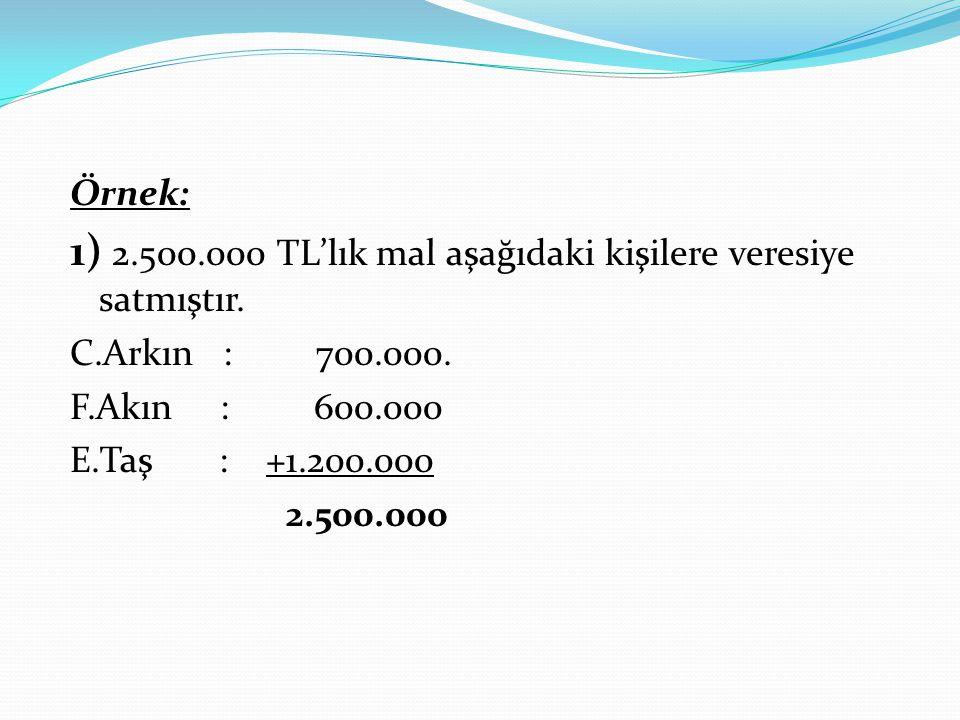 Örnek: 1) 2.500.000 TL'lık mal aşağıdaki kişilere veresiye satmıştır. C.Arkın : 700.000. F.Akın : 600.000 E.Taş : +1.200.000 2.500.000