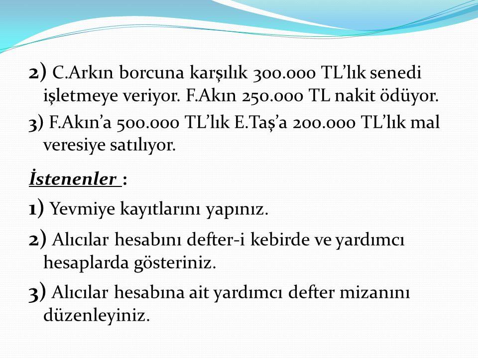 2) C.Arkın borcuna karşılık 300.000 TL'lık senedi işletmeye veriyor. F.Akın 250.000 TL nakit ödüyor. 3) F.Akın'a 500.000 TL'lık E.Taş'a 200.000 TL'lık