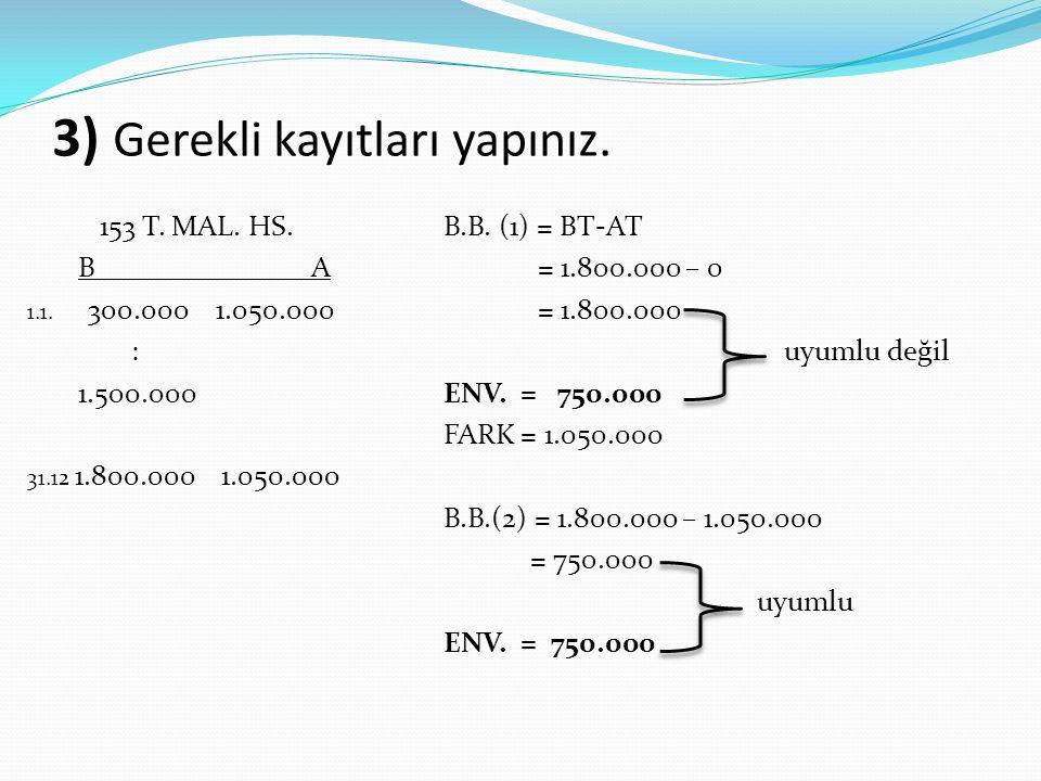 3) Gerekli kayıtları yapınız. 153 T. MAL. HS.B.B. (1) = BT-AT B A = 1.800.000 – 0 1.1. 300.000 1.050.000 = 1.800.000 : uyumlu değil 1.500.000ENV. = 75
