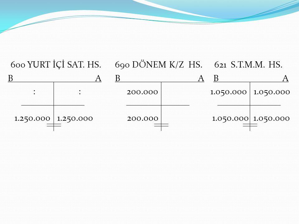 600 YURT İÇİ SAT. HS. 690 DÖNEM K/Z HS. 621 S.T.M.M. HS. B A B A B A : : 200.000 1.050.000 1.050.000 1.250.000 1.250.000 200.000 1.050.000 1.050.000