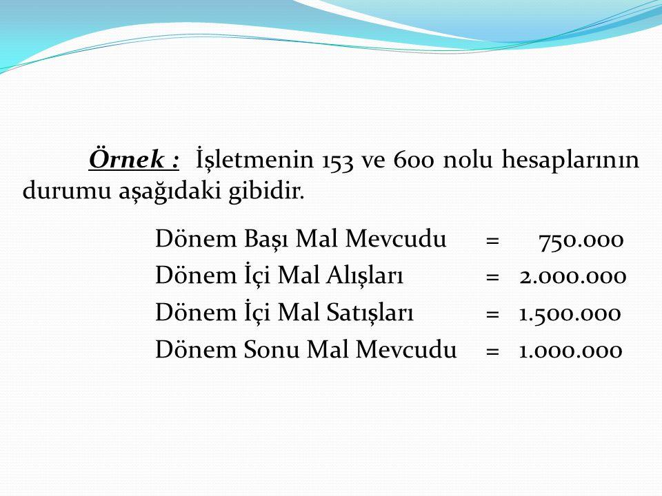Örnek : İşletmenin 153 ve 600 nolu hesaplarının durumu aşağıdaki gibidir. Dönem Başı Mal Mevcudu= 750.000 Dönem İçi Mal Alışları= 2.000.000 Dönem İçi