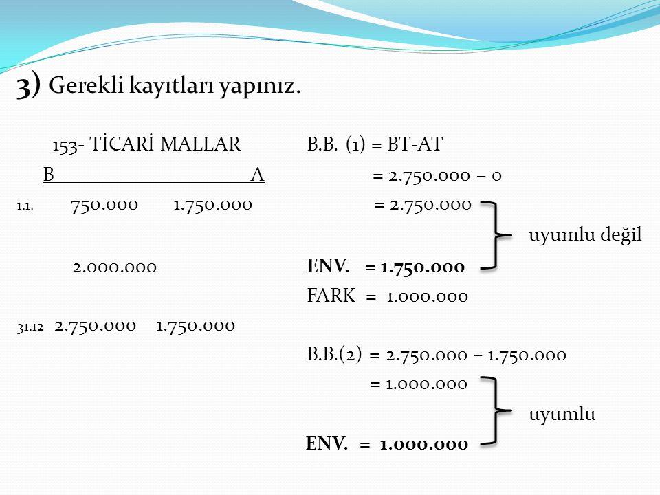 3) Gerekli kayıtları yapınız. 153- TİCARİ MALLAR B.B. (1) = BT-AT B A = 2.750.000 – 0 1.1. 750.000 1.750.000 = 2.750.000 uyumlu değil 2.000.000 ENV. =