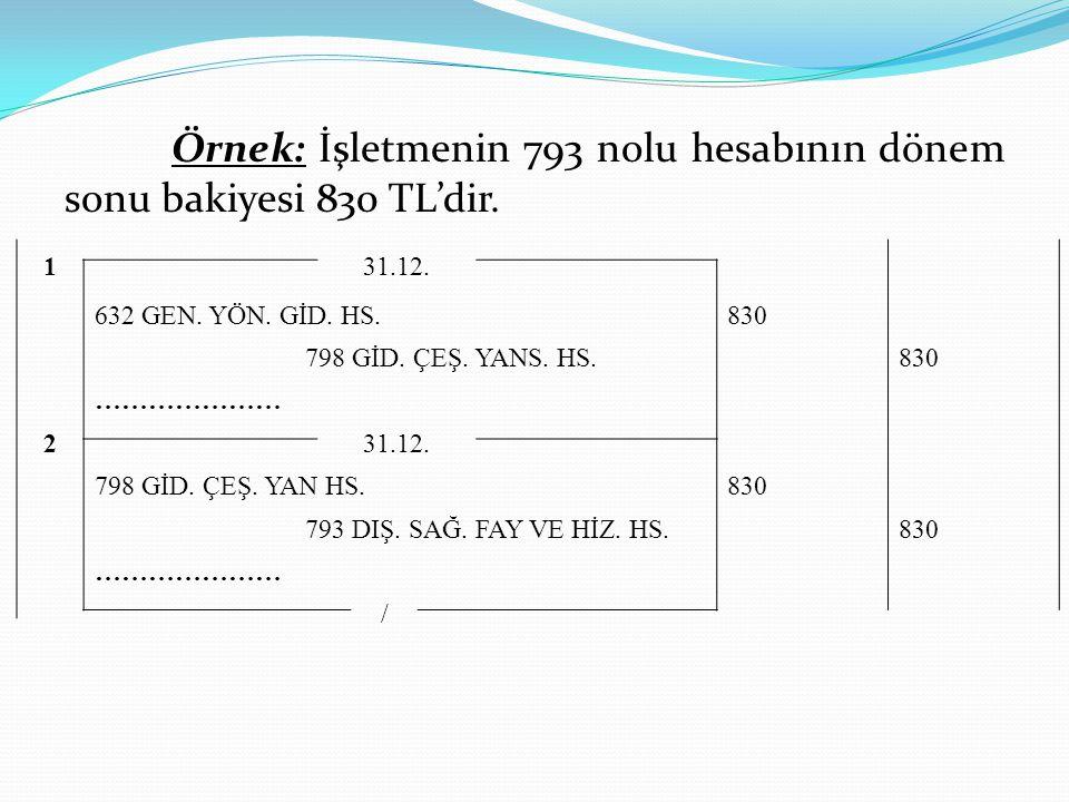 Örnek: İşletmenin 793 nolu hesabının dönem sonu bakiyesi 830 TL'dir. 131.12. 632 GEN. YÖN. GİD. HS. 830 798 GİD. ÇEŞ. YANS. HS. 830 ………………… 231.12. 79