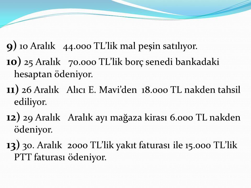 9) 10 Aralık 44.000 TL'lik mal peşin satılıyor. 10) 25 Aralık 70.000 TL'lik borç senedi bankadaki hesaptan ödeniyor. 11) 26 Aralık Alıcı E. Mavi'den 1