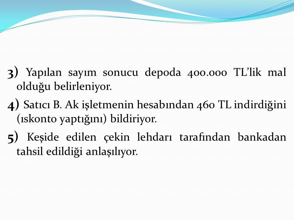 3) Yapılan sayım sonucu depoda 400.000 TL'lik mal olduğu belirleniyor. 4) Satıcı B. Ak işletmenin hesabından 460 TL indirdiğini (ıskonto yaptığını) bi