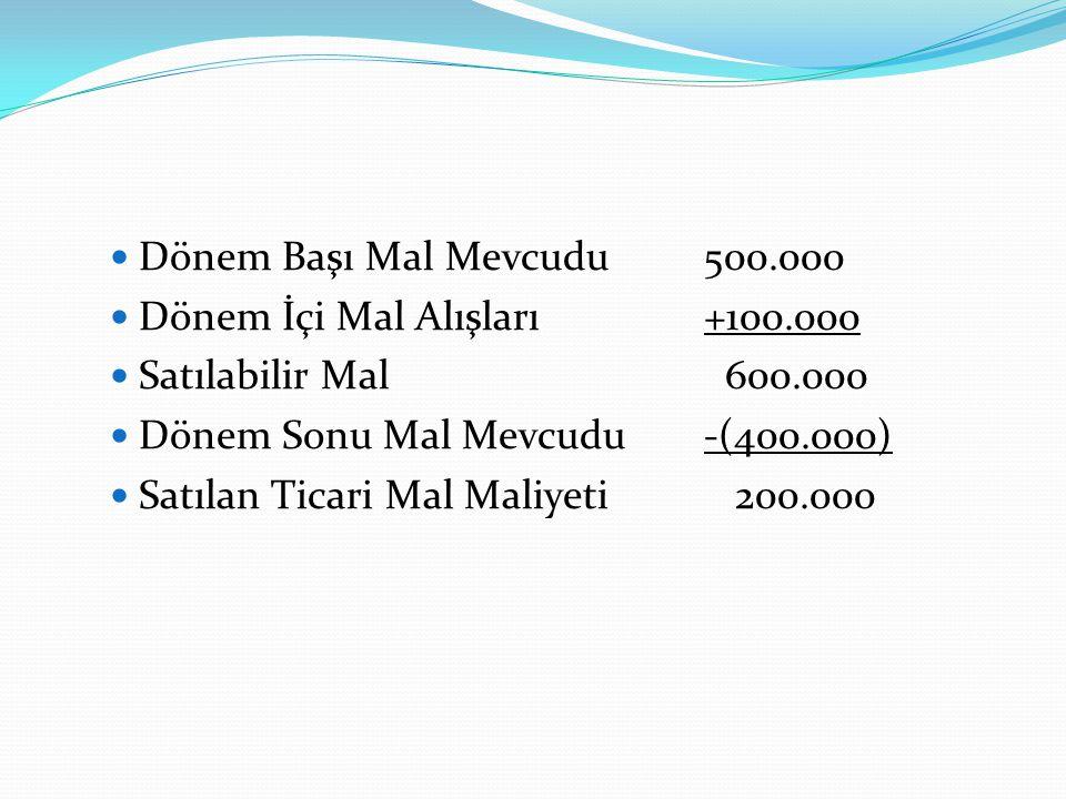  Dönem Başı Mal Mevcudu500.000  Dönem İçi Mal Alışları+100.000  Satılabilir Mal 600.000  Dönem Sonu Mal Mevcudu-(400.000)  Satılan Ticari Mal Mal